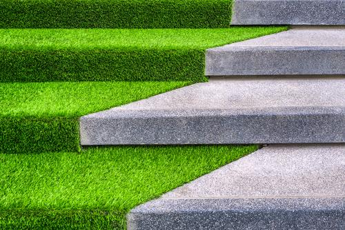 Green Artificial Grass on Concrete
